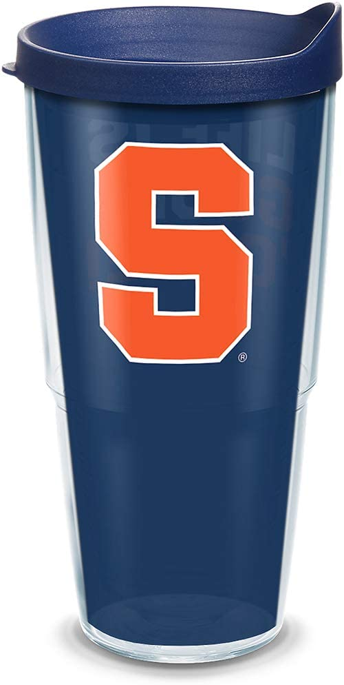 Tervis Syracuse Orange Life Is Good Insulated Tumbler with Wrap and Navy Lid, 24oz, Clear