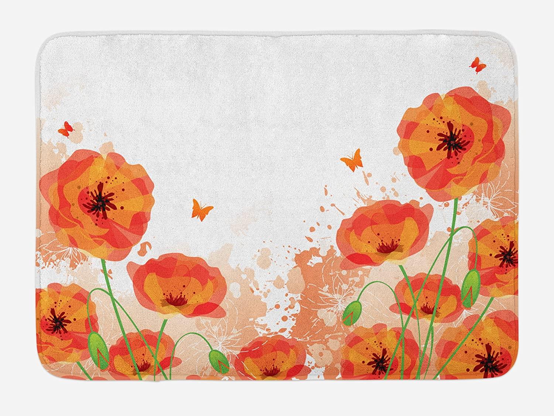 Ambesonne Poppy Bath Mat, Digital Watercolors Design of Poppy Classic Botany Bouquet Patterns Print, Plush Bathroom Decor Mat with Non Slip Backing, 29.5