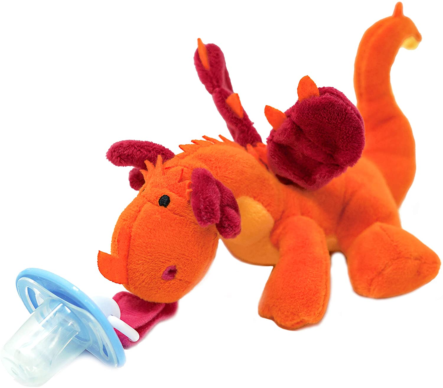 Dragon Pacifier Holder, Pacifier Stuffed Animal - Plush Toy Includes Detachable Pacifier, Use with Multiple Brand Name Pacifiers - Plush Stuffed Animal Infant Pacifier