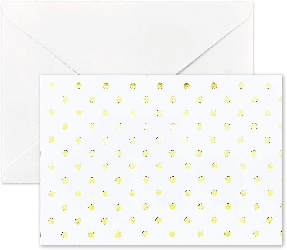 Besecraft White Notecards with Gold Foiled and Envelopes Set, Wedding Thank You Cards Stationary Cards for Greeting, Bridal Showers, 10 Packs, Folded Size 92x130mm