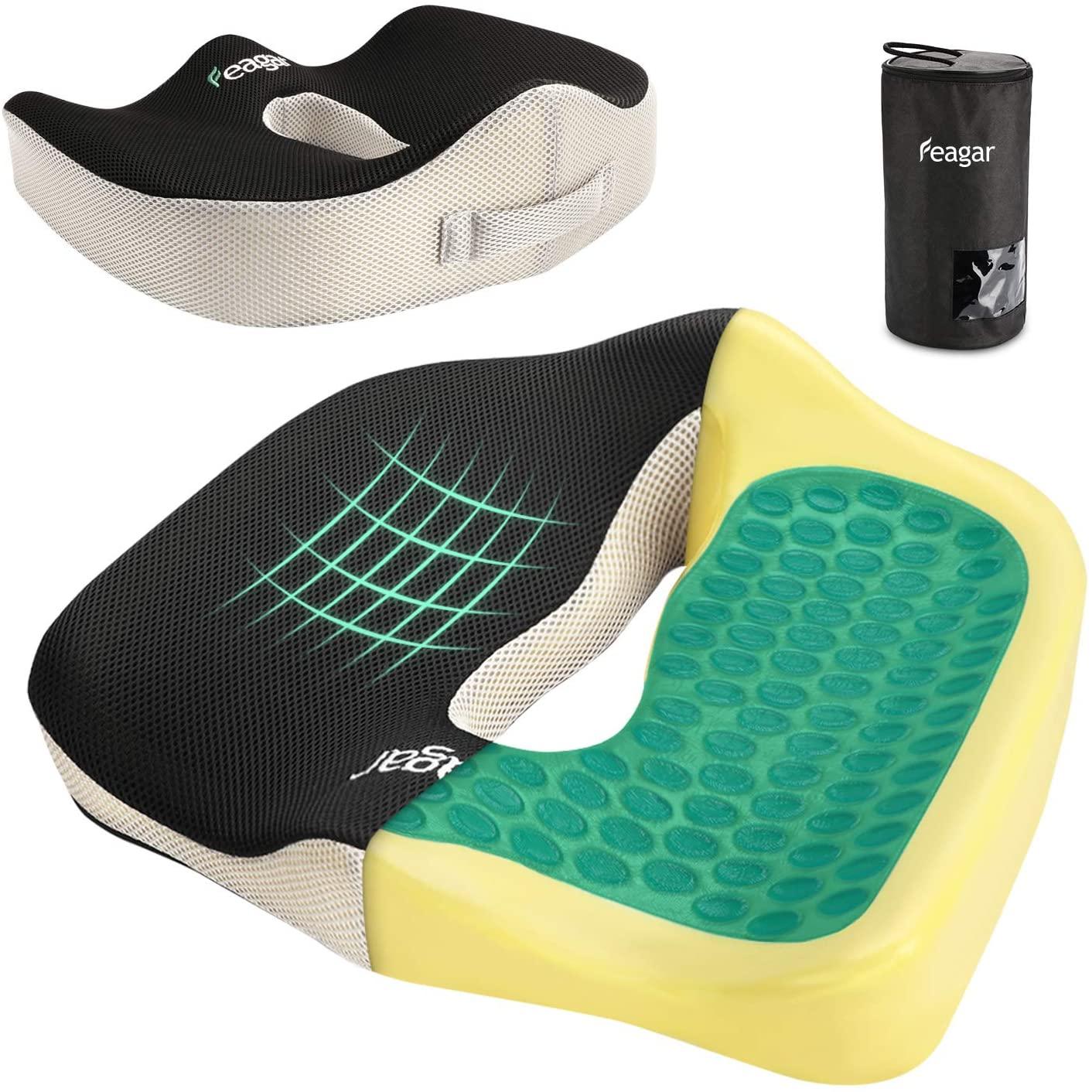 Feagar Gel Chair Seat Cushion - Orthopedic & Memory Foam Coccyx Cushion for Pressure Relief, Tailbone Pain -Butt Cushion for Office, Chairs, Wheelchair, Car - Sciatica Pillow for Sitting, Gel
