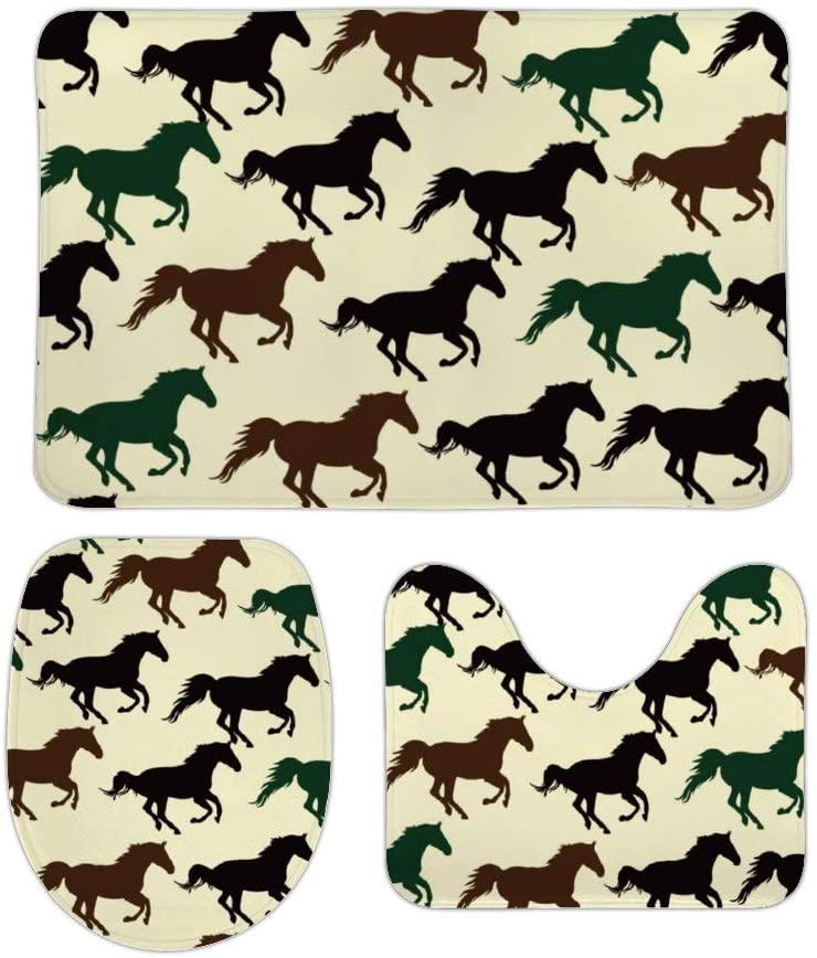Horse Racing Bath Rugs Non-Slip Mat Set Extra Thick Super Soft Absorbent Plush Durable Cozy Flannel Washable Carpet for Tub Toilet Shower Bathroom Room Kitchen 16x24 in