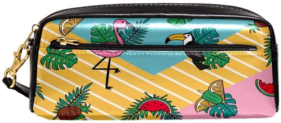Pink Flamingo Zipper Pencil Case PU Leather Pen Box Cosmetic Makeup Bag Purse Pouch Organizer School Office Supplies for Girls Boys Unisex