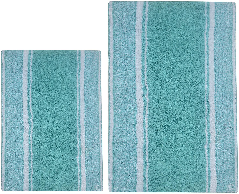 Chardin Home - 100% Pure Cotton - 2 Piece Manhattan Stripe Bathroom Rug Set, (21''x34'' & 17''x24'') Aqua Blue-White (Pantone 14-4809 Tpx) with Latex Spray Non-Skid Backing.