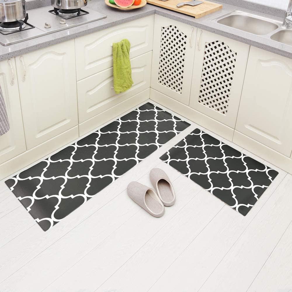 Carvapet 2 Pieces Comfort Anti-Fatigue Kitchen Standing Desk Mat Waterproof Decorative Ergonomic Floor Pad Kitchen Rug, Moroccan Trellis Gray 18