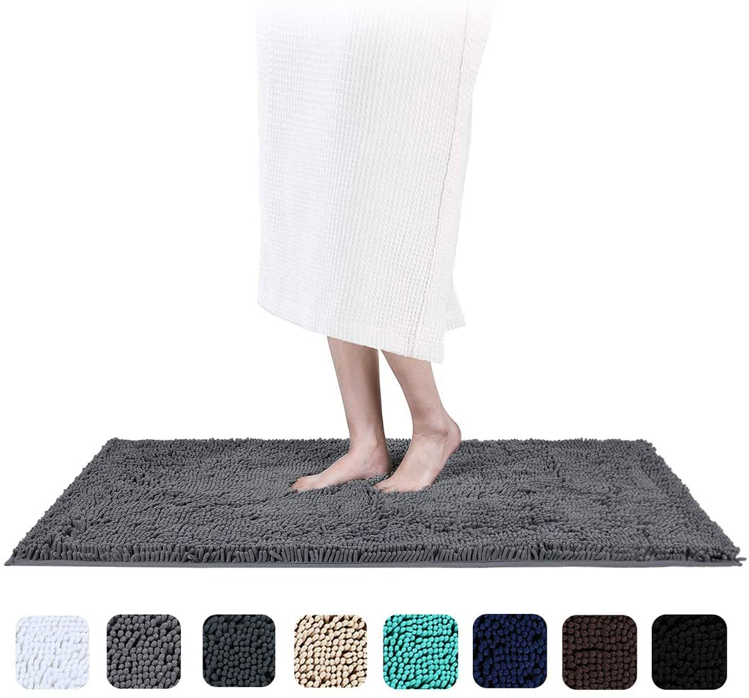 Smiry Chenille Bathroom Rugs Mats, Soft Microfiber Shaggy Absorbent Non-Slip Machine Washable Bath Mats, Super Plush Bath Runner for Bathroom, Shower & Tub, 24 x 47, Grey