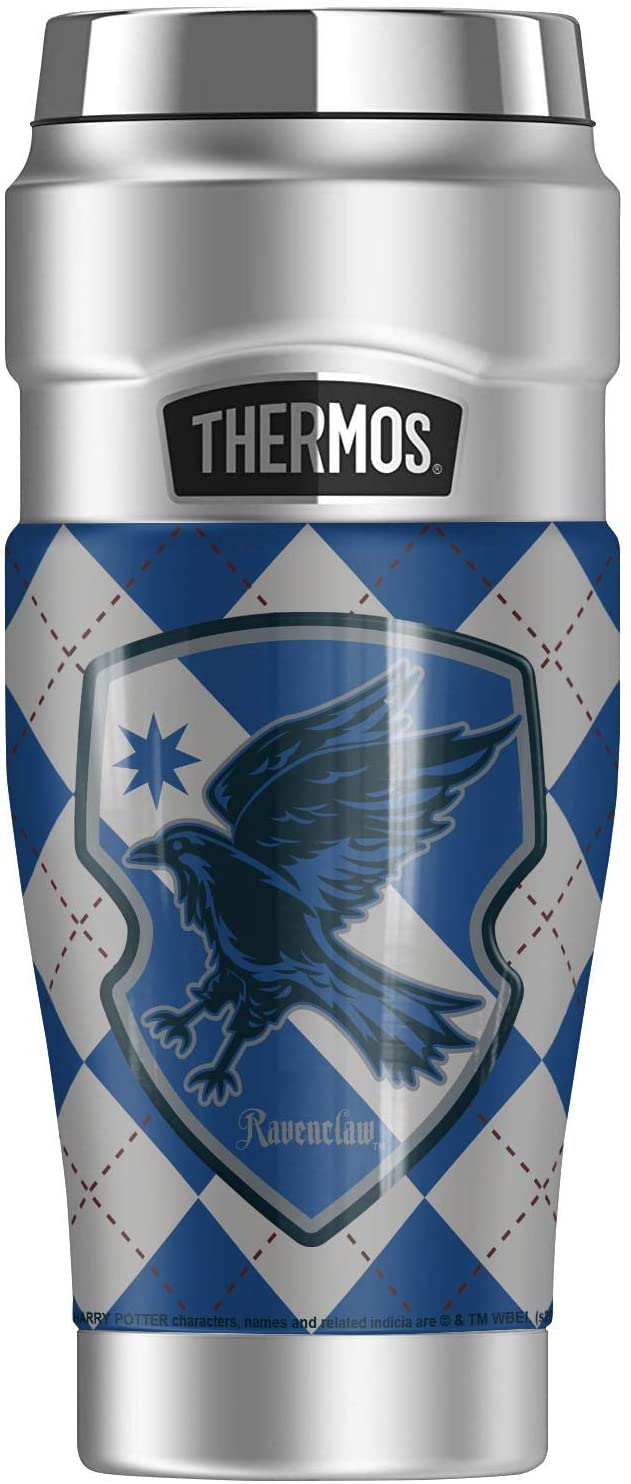 Harry Potter Ravenclaw Plaid Sigil, THERMOS STAINLESS KING Stainless Steel Travel Tumbler, Vacuum insulated & Double Wall, 16oz