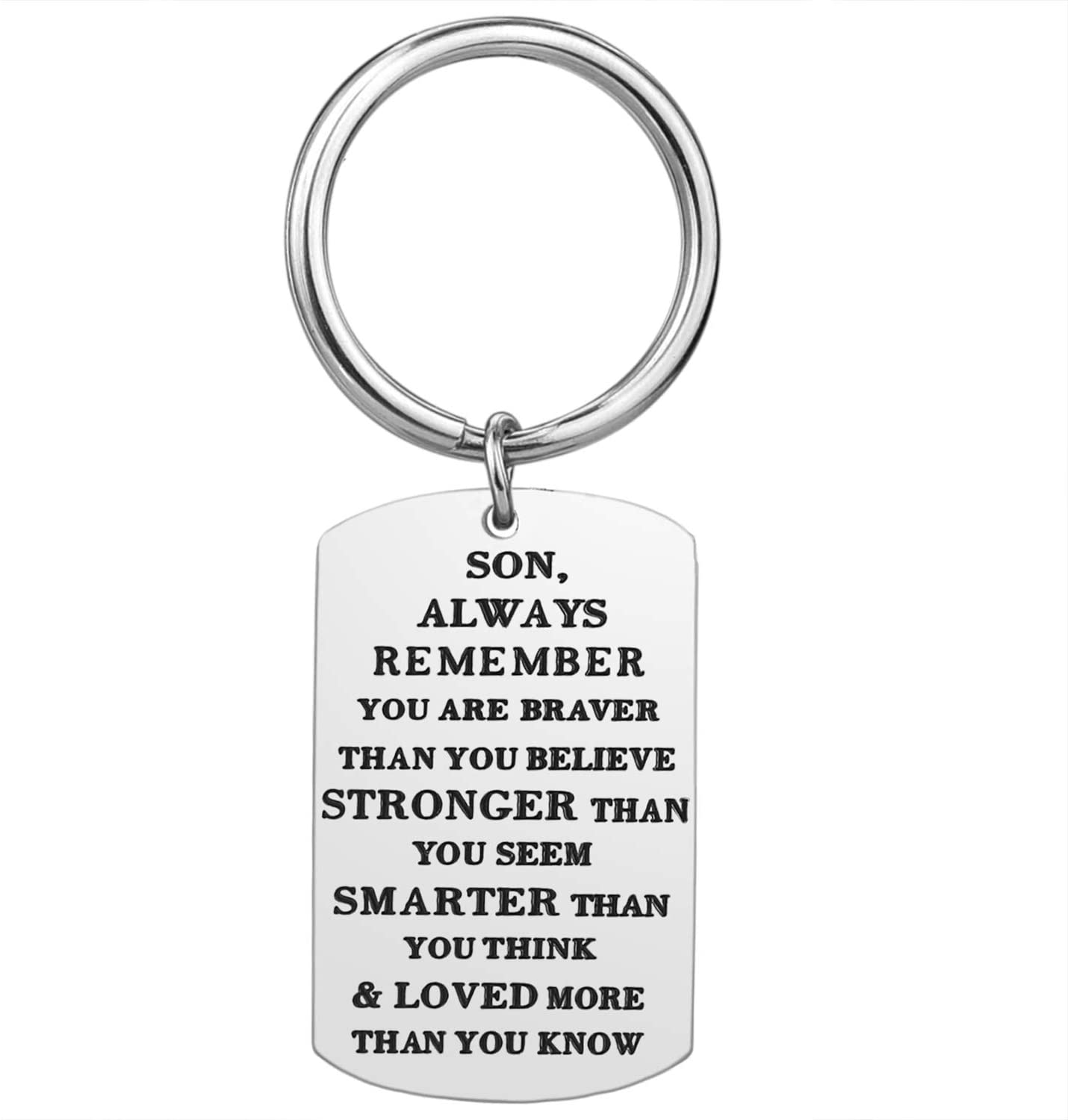 Son Gifts from Mom Dad - Son Always Remember You are Braver Stronger Smarter Inspirational Keychain Christmas Birthday Valentine's Day Gifts for Son from Mother Father