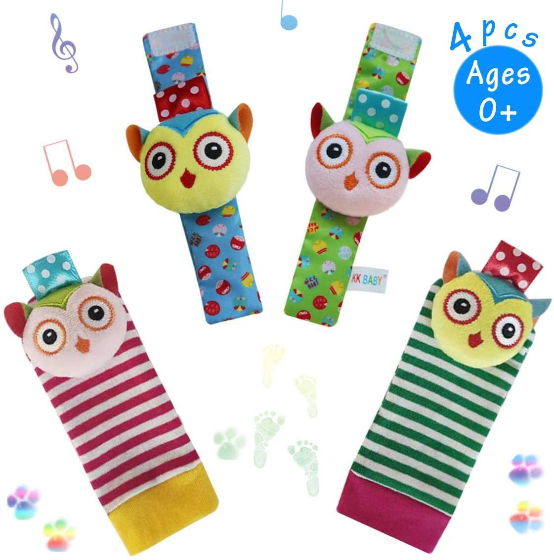 URUTOREO Baby Rattle, Baby Wrist Rattle and Foot Rattles Finder Socks Set, Developmental Soft Animal Rattles Owl Socks Toys Infant Baby Toys (4 Pcs)