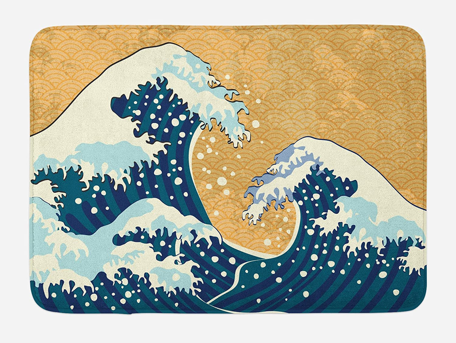 Ambesonne Japanese Wave Bath Mat, Sea Storm in Japan Traditional Drawing Foamy Waves, Plush Bathroom Decor Mat with Non Slip Backing, 29.5 X 17.5, Yellow Blue