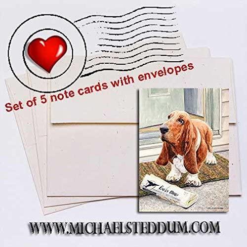 Michael Steddum Paper Boy Basset Hound Note Card Set