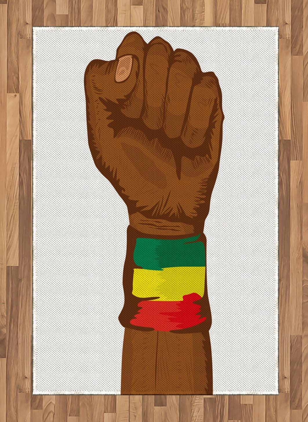 Ambesonne Rasta Area Rug, Ethiopian Rebellion Wrist with Flag Colors Art Print, Flat Woven Accent Rug for Living Room Bedroom Dining Room, 4' X 5.7', Brown Green Yellow Red and Green