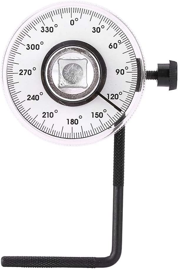 KSTE Torque Angle Gauge 1/2 Inch Adjustable Drive Angle Torsion Wrench,Measure Car Gauge Tool Set 360 Degree Angle.