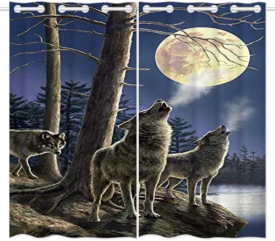 HommomH 54 x 84 inch Curtains (2 Panel) Grommet Top Darkening Blackout Room Wolf Moon