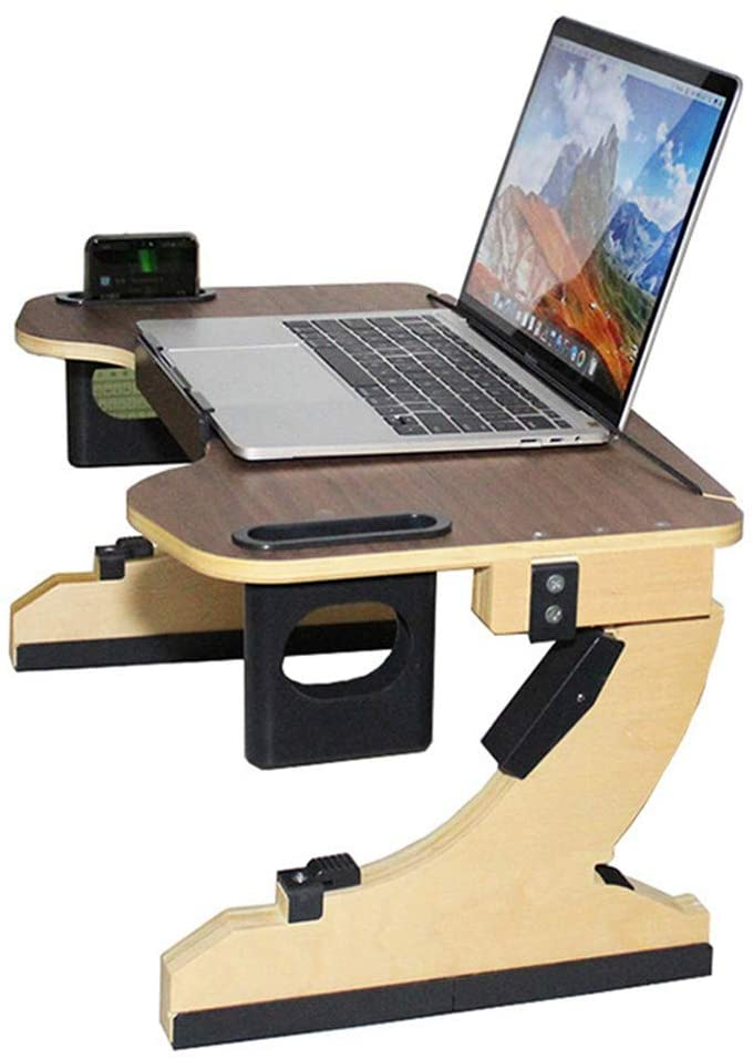 Adjustable Ergonomic Laptop Bed Desk Tray Multi Tasking Wooden Lap Small Desk Folding TV Tray Table Smartphone Tablet Lap Tray for Homework Study Reading Eating Food Tray Table (Walnut)