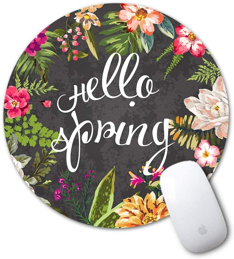 Mouse Pad, Sumplee Fashion Mousepad Round Art Print Mouse Pads Anti Slip Rubber Mouse Mat for Desktops, Computer, PC and Laptops (7.87x7.87, Blossom Floral)