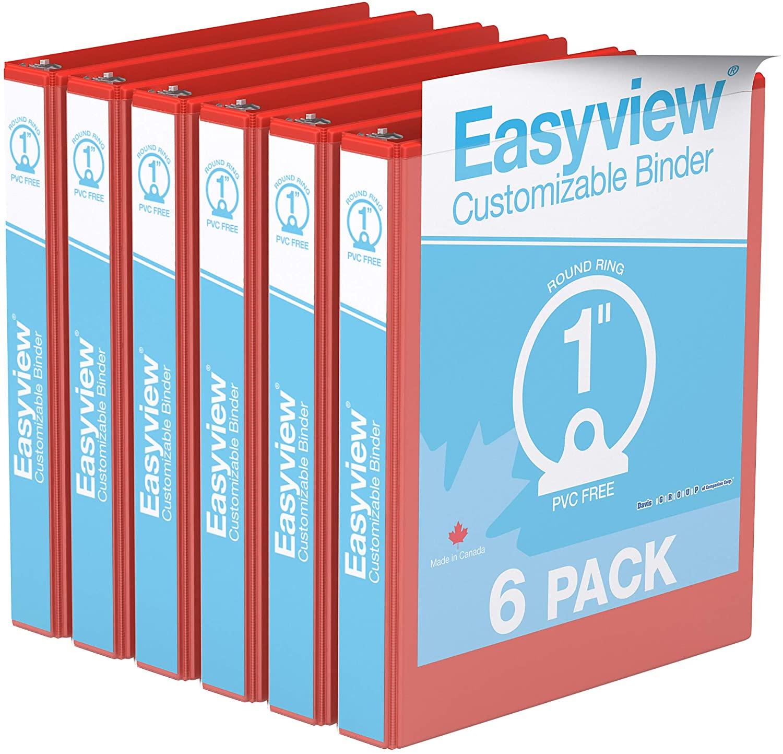 Easyview Premium, Round Ring, Customizable, View Binder, 6 Pack