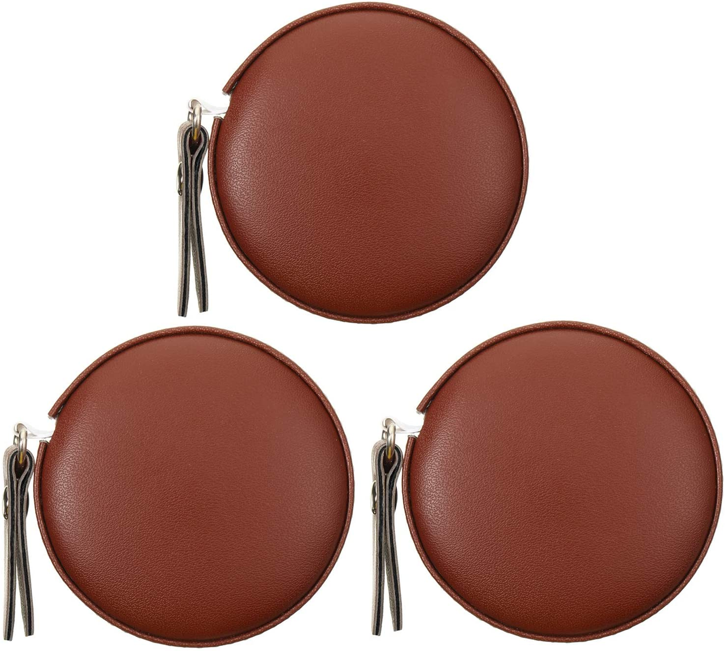 3 Pieces Body Measuring Tape Tape Measure Leather Retractable Tape Measure for Body or Weight Loss, Accurate Sewing Tape Measure 60 Inch/1.5 M, Round (Brown)