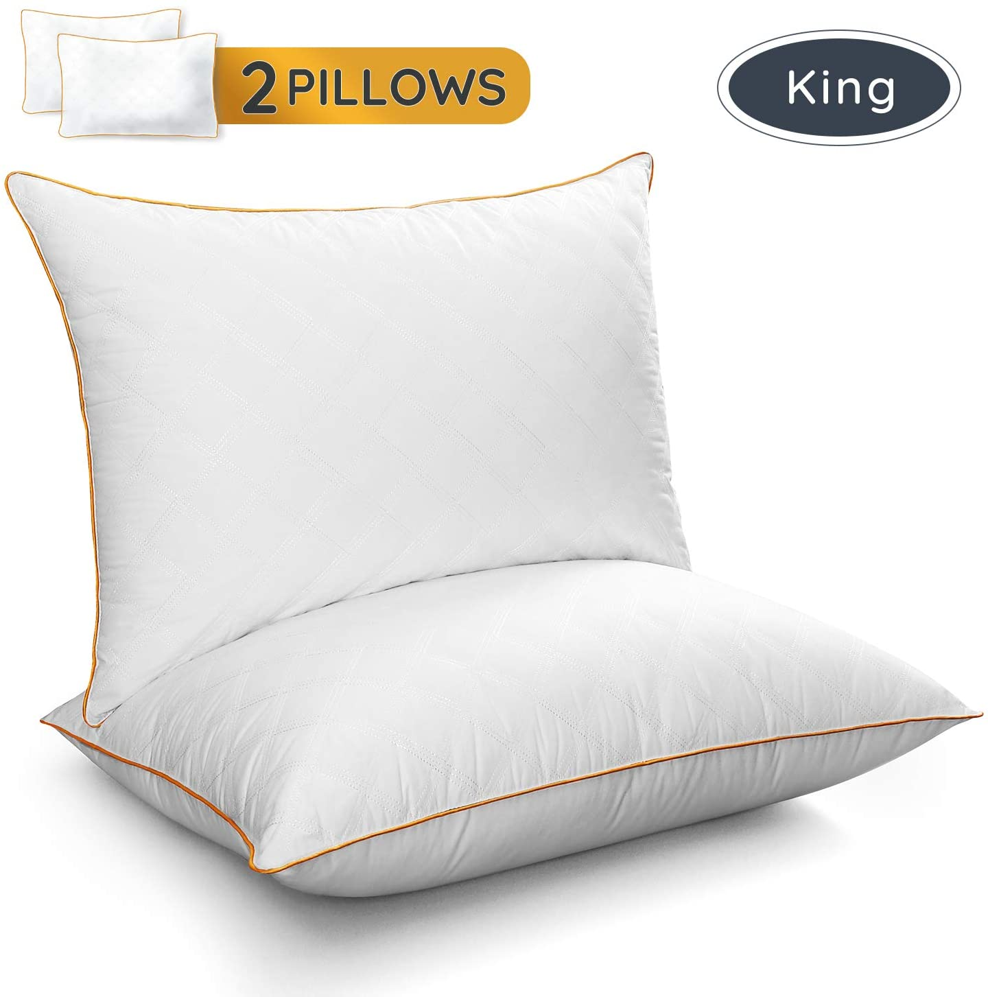 LUTE King Pillows Set of 2, Hotel Collection Gel Sleeping Pillow Cooling Pillow with Soft Premium Plush Fiber Fill Good for Side Back Stomach Sleepers, 20x36 inches