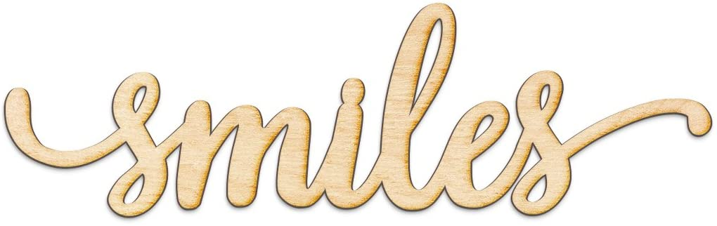Smiles Script Wood Sign Home Decor Wall Art Unfinished Charlie 8