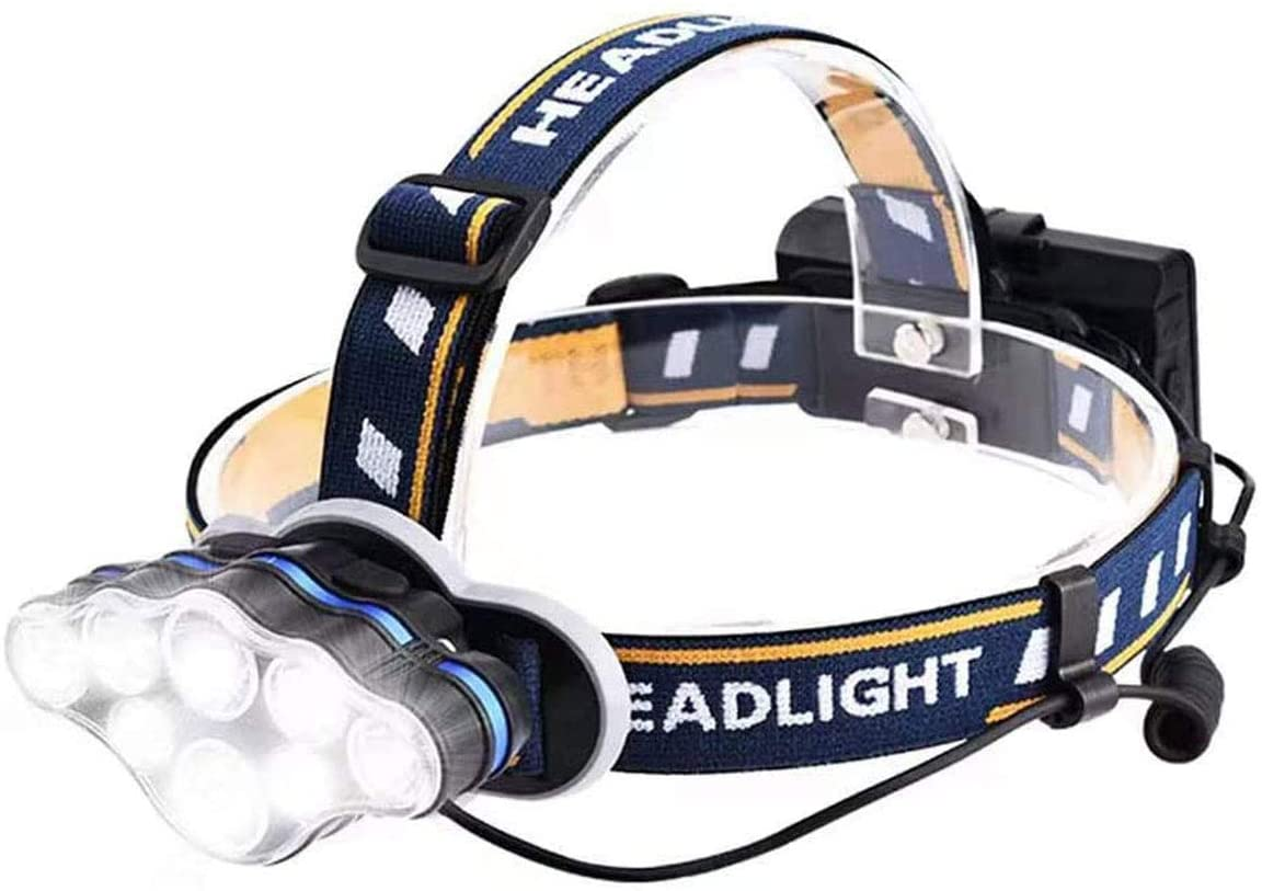 NEW Headlight Headlamp,Rechargeable HeadLamp Waterproof 13000 LM Brightest 8 LED USB Headlight Red Lights,Headlamps Extreme Bright 8 Modes for Outdoor Camping Cycling Fishing(Not included Batteries)
