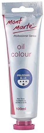Mont Marte Premium Oil Paint, 3.4oz (100ml), Prussian Blue, Good Coverage, Excellent Tinting Strength