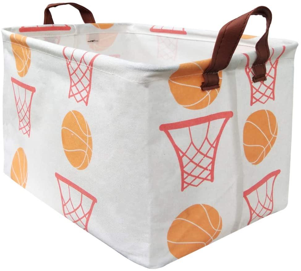 BOOHIT Rectangular Storage Basket,Nursery Hamper Canvas Fabric Toy Storage Organizer Bin,Waterproof Storage Box,Laundry Basket for Kid Rooms,Playroom,Shelves,Toy Basket,Gift Basket (Basketball)