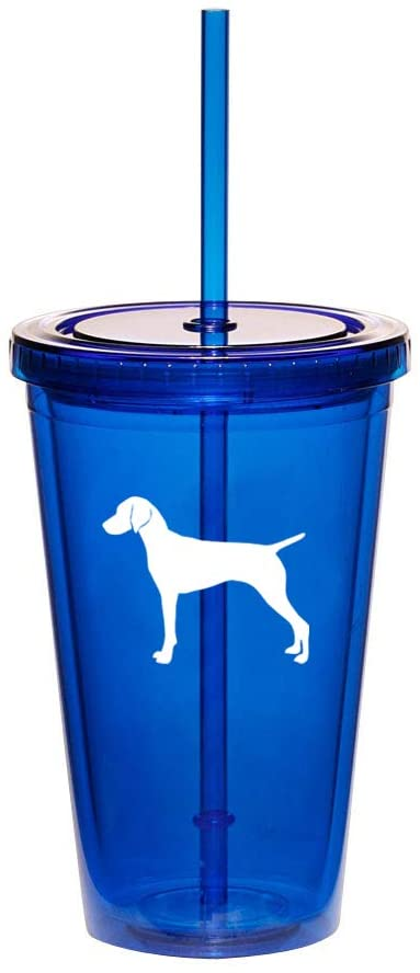 16oz Double Wall Acrylic Tumbler Cup With Straw Vizsla (Blue)