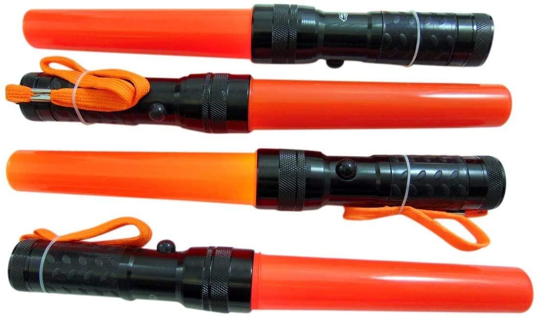 Safety LED Night Flashlight Wand Signal Night Light with Grip Handle and Wrist Strap Bulk Pack, Set of 8