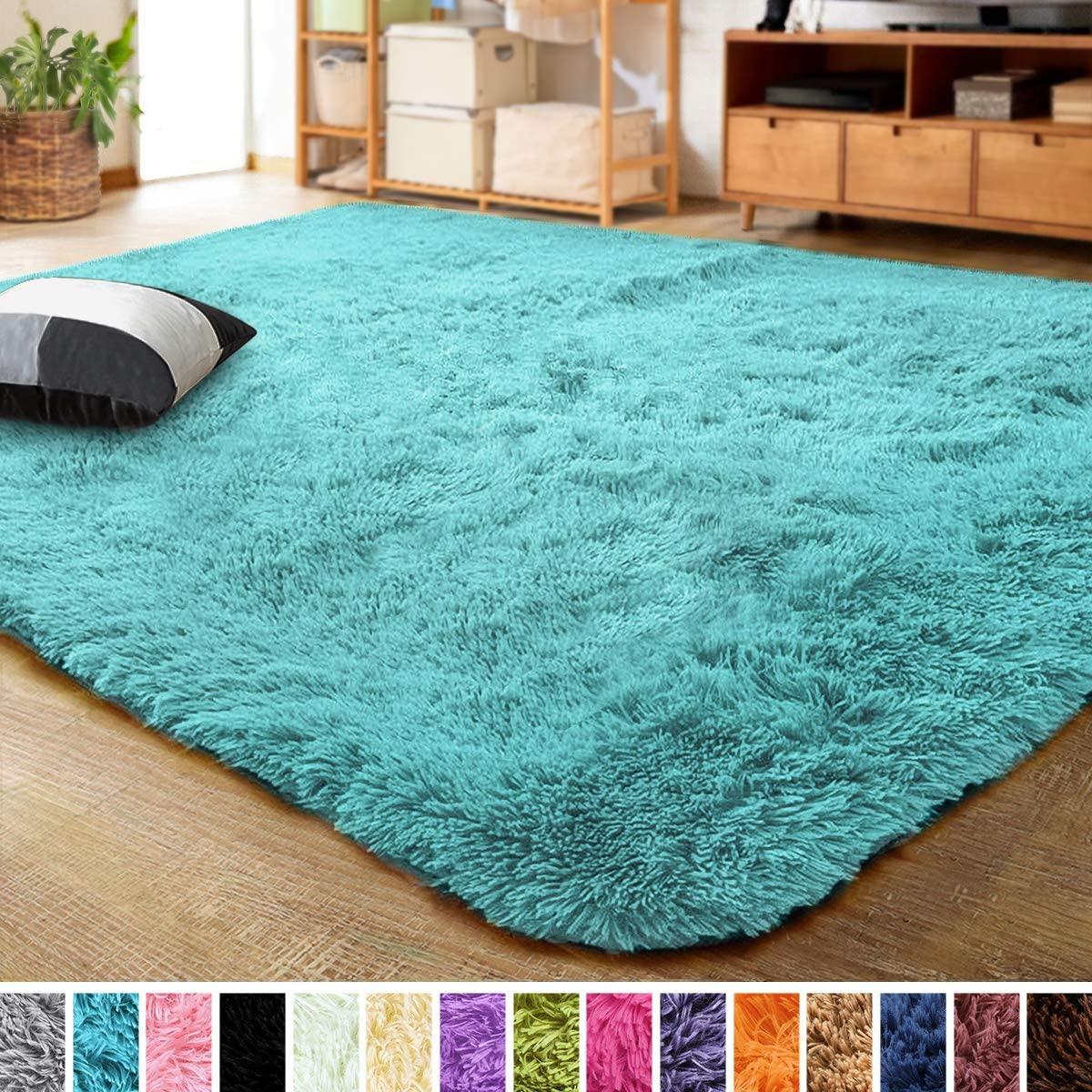 LOCHAS Ultra Soft Indoor Modern Area Rugs Fluffy Living Room Carpets for Children Bedroom Home Decor Nursery Rug 3x5 Feet, Blue