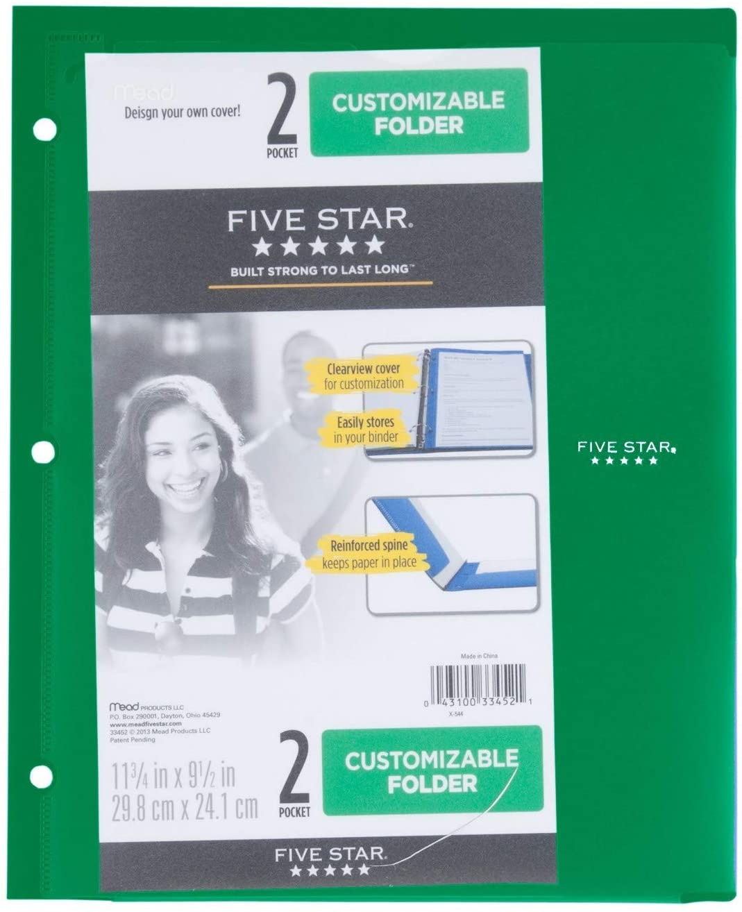 Customizable Plastic Folder 2 Pocket,3 Holes - Five Star/No PRONGS/Size (Overall): 9.5 X 11.75 ,Sheet Capacity: 120 (Green)