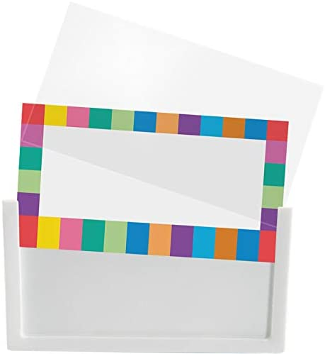 Really Good Stuff Clip-On Label Holders with Labels – Easily Attaches to Bins and Baskets – Keep Classroom Materials Organized and Clearly Labeled – Durable, Reusable (Set of 12)