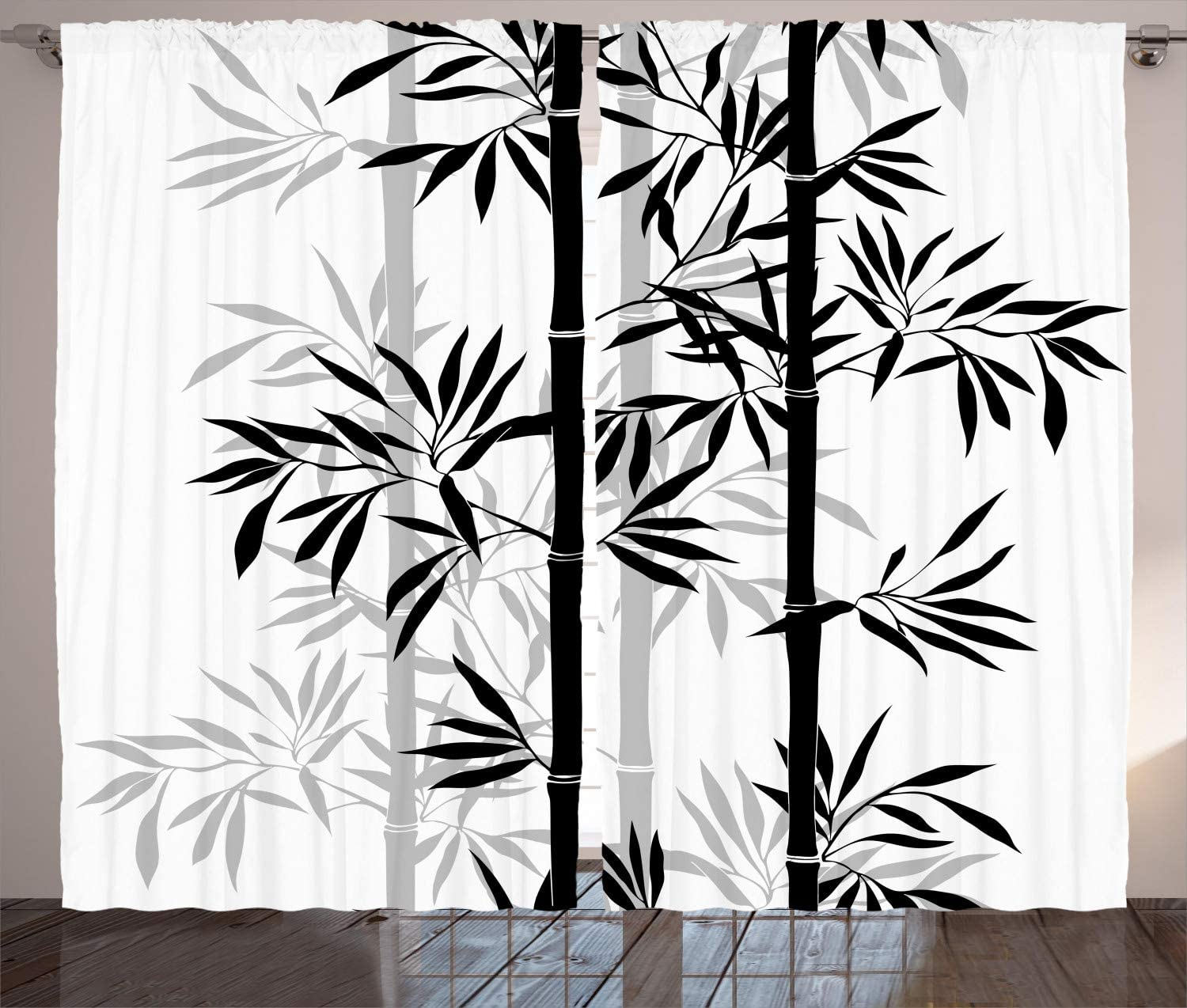 Ambesonne Tree of Life Curtains, Silhouette of Bamboo Tree Leaves Japanese Feng Shui Boho Image, Living Room Bedroom Window Drapes 2 Panel Set, 108