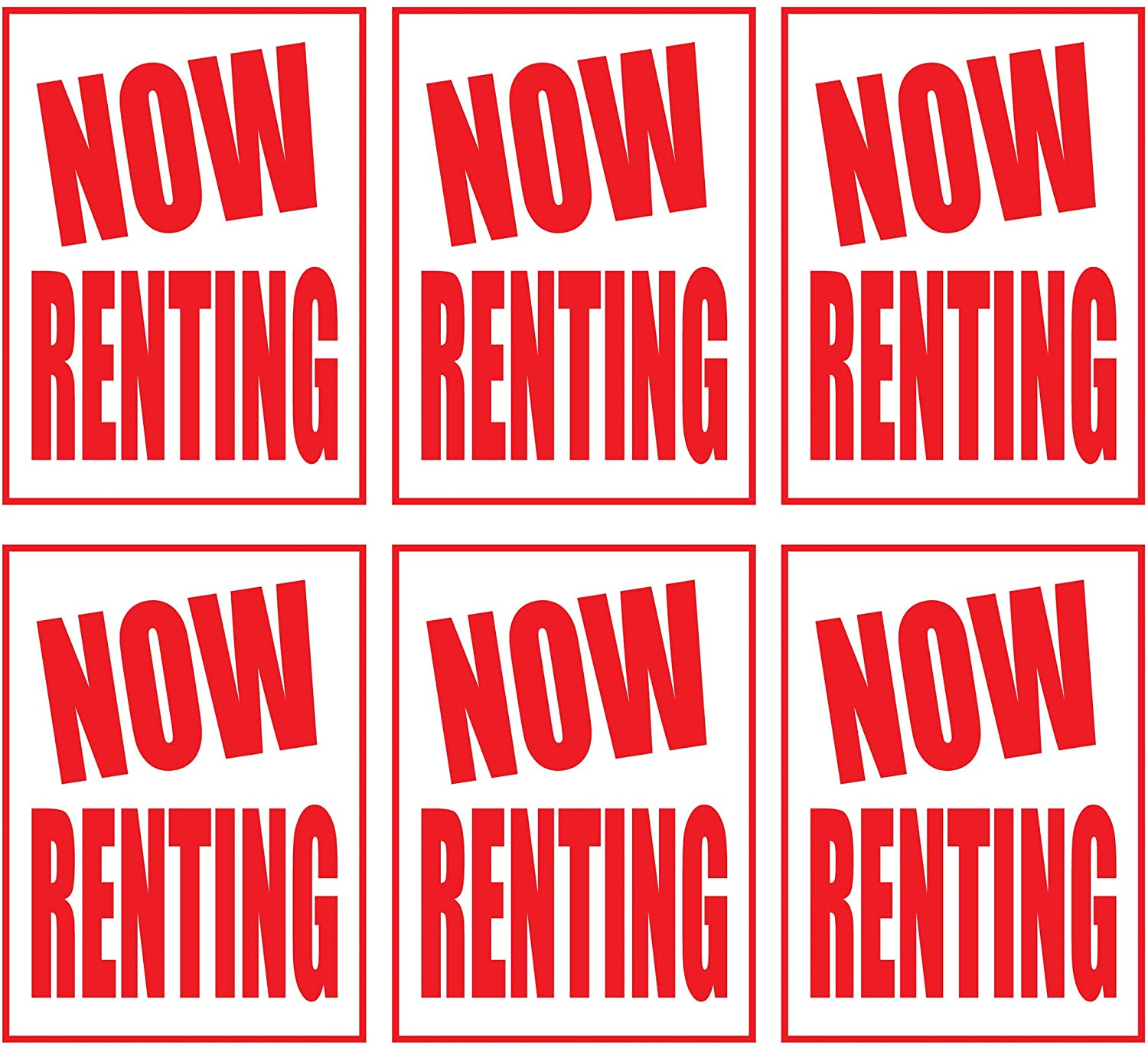Now Renting | Large Store Window/Wall Retail Display Paper Signs | Red on White | 18