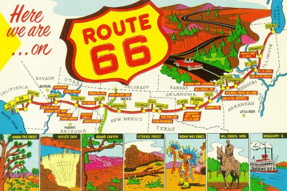 Map of Route 66 from Los Angeles to Chicago - Vintage Advertisement (12x18 Art Print, Wall Decor Travel Poster)