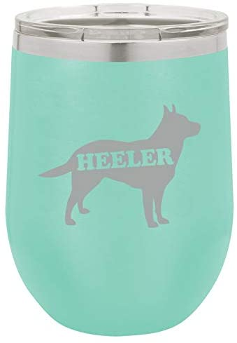 12 oz Double Wall Vacuum Insulated Stainless Steel Stemless Wine Tumbler Glass Coffee Travel Mug With Lid Australian Cattle Dog Heeler (Teal)