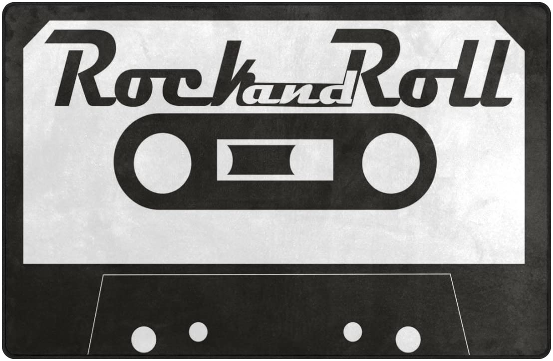 WOZO Black White Audio Cassette Tape Area Rug Rugs Non-Slip Floor Mat Doormats Living Dining Room Bedroom Dorm 31 x 20 inches Home Decor