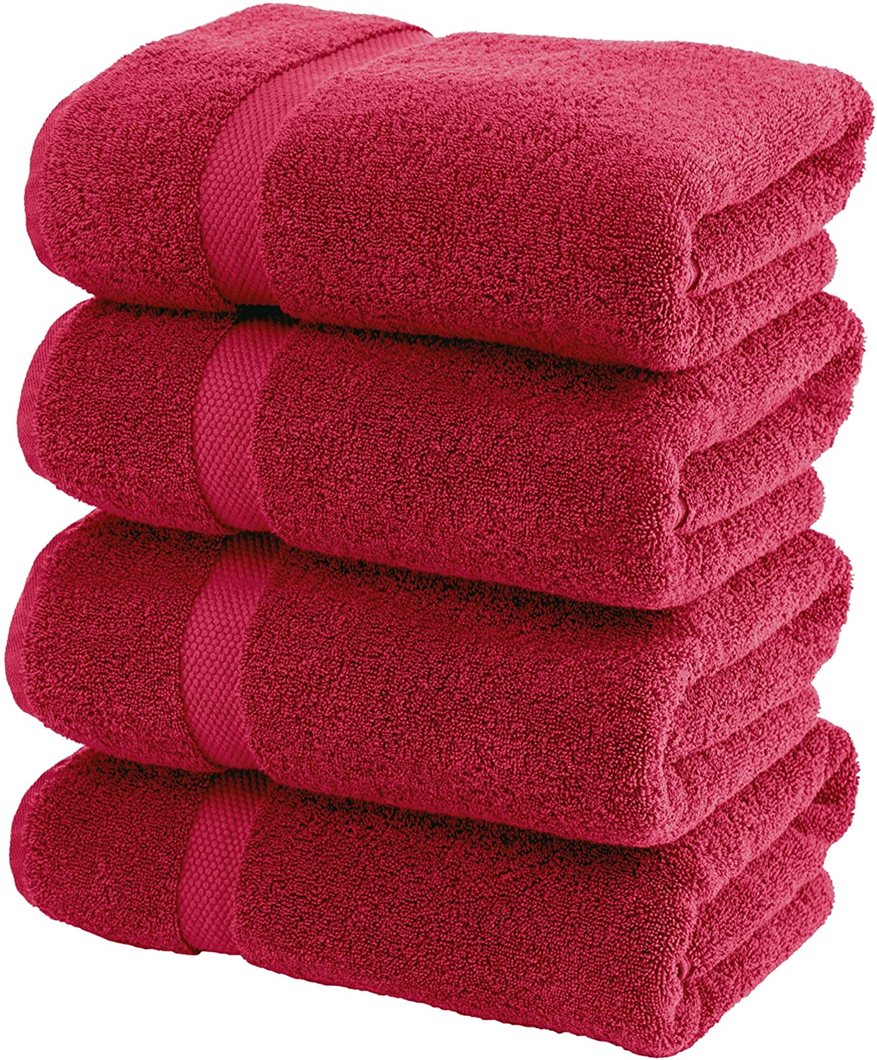 White Classic Luxury Bath Towels Large - Cotton Hotel spa Bathroom Towel | 27x54 | 4 Pack | Burgundy