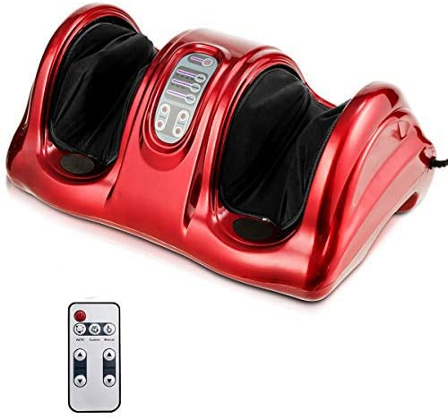Giantex Foot Massager Machine with Chronic Nerve Pain Therapy Spa Gift Deep Kneading Rolling Massage for Leg Calf Ankle, Electric Shiatsu Foot Massager W/Remote (Red)