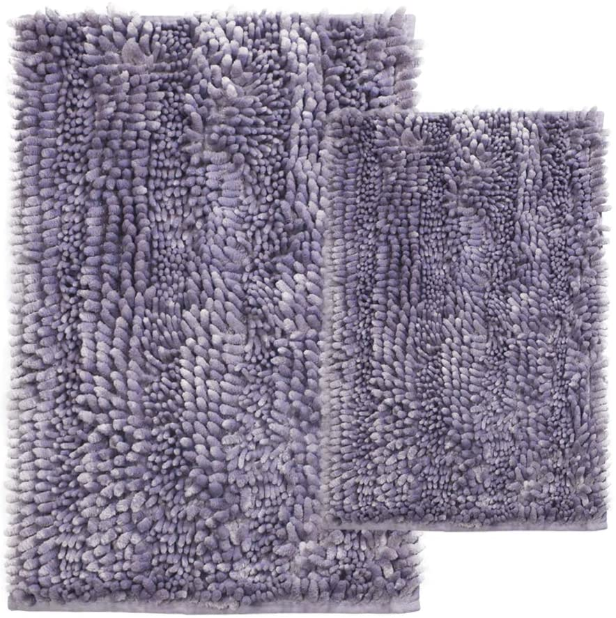 Comfy Soft 2 Piece Butter Chenille Bath Mat Rug Set, Shiny Noodle Bathroom Mats Rugs with Non Slip Backing, Super Water Absorbent Machine Washable 31x20 and 24x16 Inch, Purple