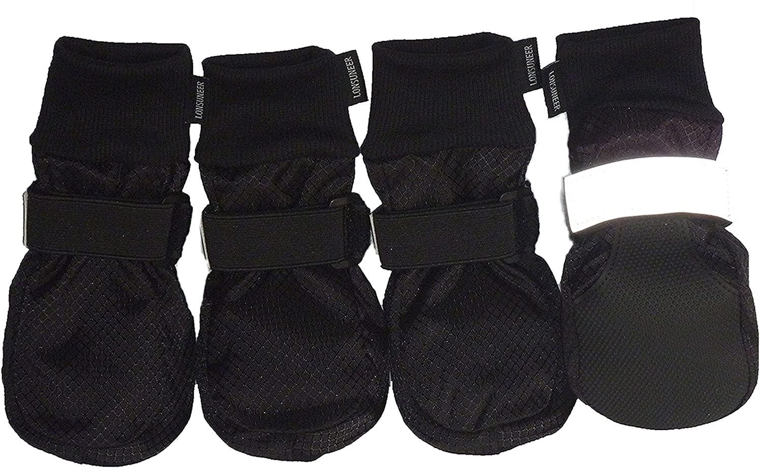 LONSUNEER Paw Protector Dog Boots Soft Sole Nonslip and Reflective Set of 4