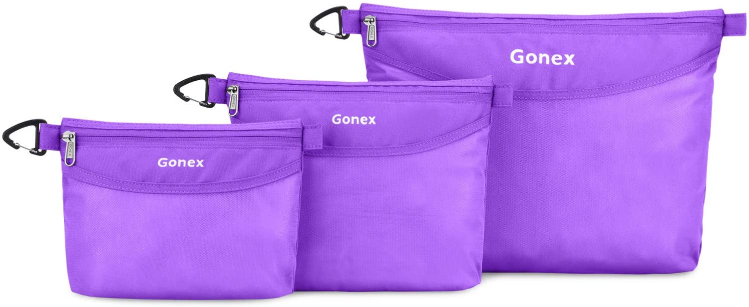 Gonex Travel Packing Toiletry Pouches with Zippers Water-resistant Packing Bag Organizer 3 Sets-Large, Medium& Small for Travel, Office, Outdoor, Art Purple