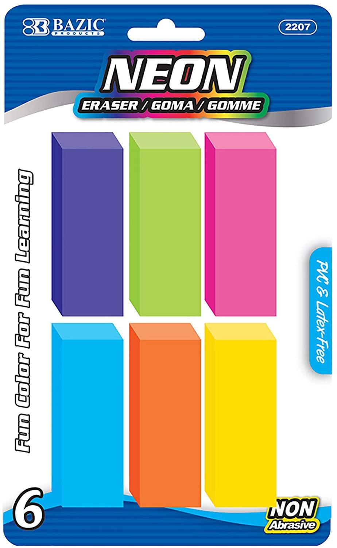 BAZIC Neon Bevel Eraser (6/Pack)