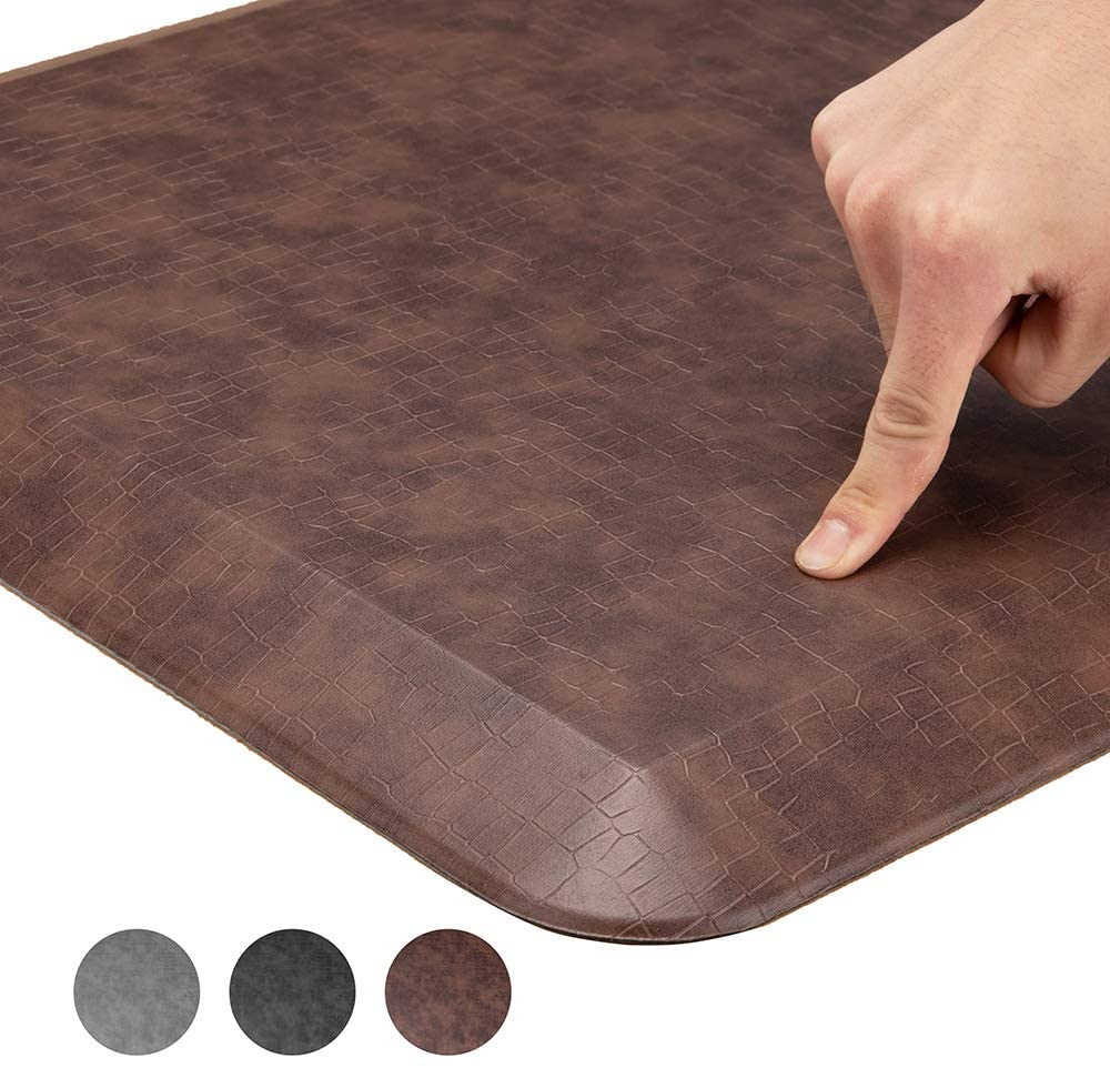 Comfort Anti Fatigue Floor Mat, Standing Mat Kitchen Rug – 3/4 Inch Standing Desk Mat, Home, Office, Garage (Grain Brown, 20