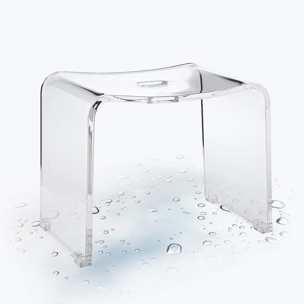 G & FAR Shower Stools, Backless Stool Chair for Bathroom, Shower Seat, Thick Shiny Acrylic Stools, Spa Bath Stool, Transparent Acrylic, Dedicated to The Bathroom, Waterproof, Non-Slip, Clear Acrylic