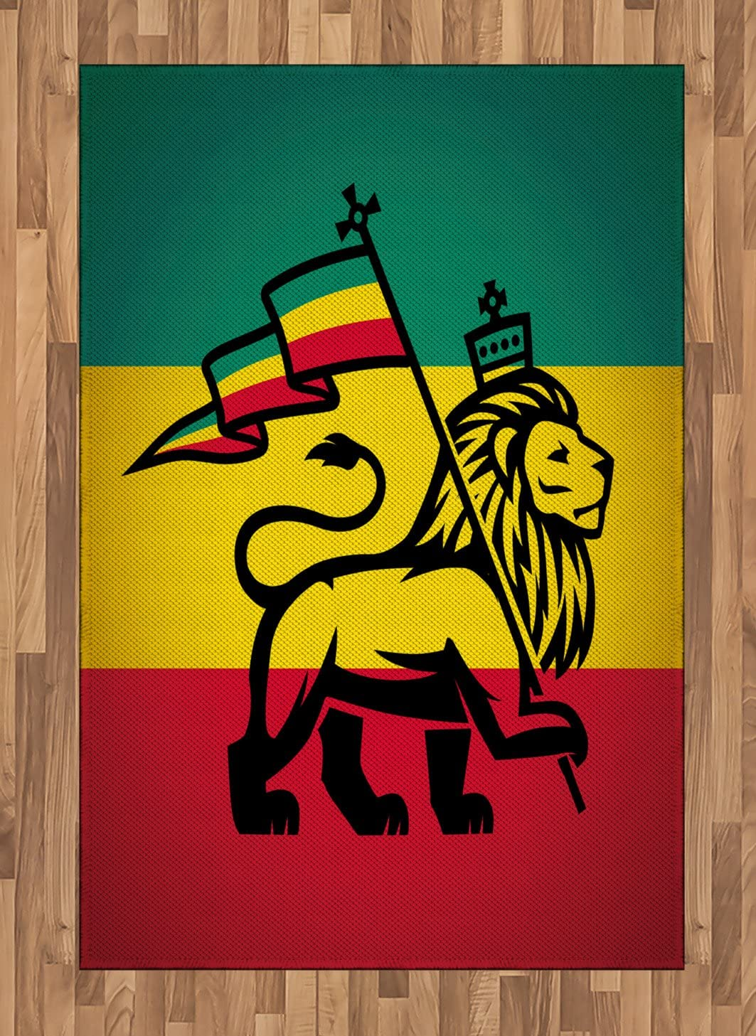 Ambesonne Rasta Area Rug, Judah Lion with a Rastafari Flag King Jungle Reggae Theme Art Print, Flat Woven Accent Rug for Living Room Bedroom Dining Room, 4' X 5.7', Black Green Yellow and Red