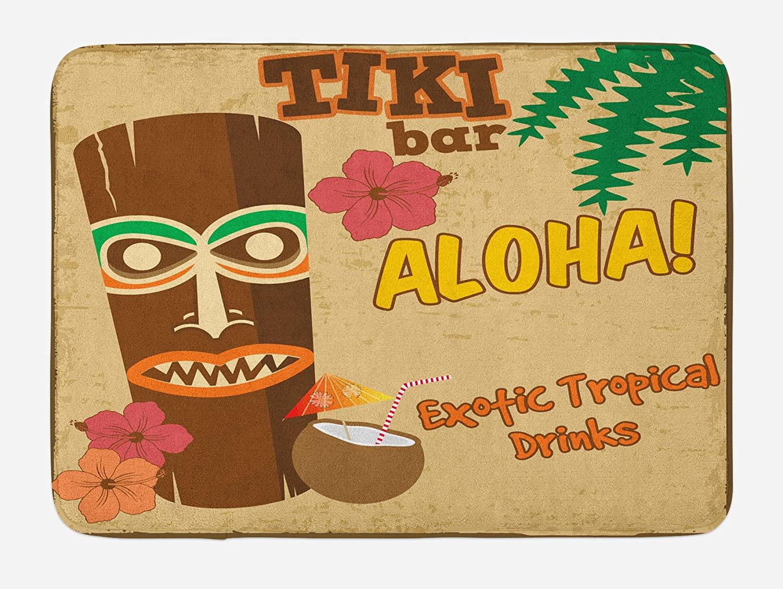 Ambesonne Tiki Bar Bath Mat, Polynesian Tropical Drink Retro Typography and Flora Old Aged Design, Plush Bathroom Decor Mat with Non Slip Backing, 29.5