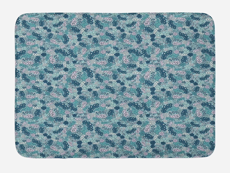 Ambesonne Leaves Bath Mat, Flourishing Beauty Spring Summer Branches Digital Pattern, Plush Bathroom Decor Mat with Non Slip Backing, 29.5