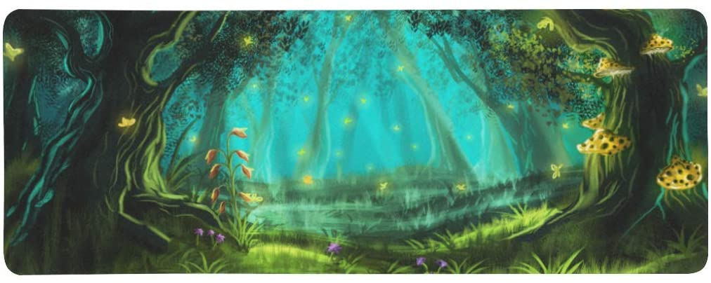 InterestPrint Soft Extra Extended Large Gaming Mouse Pad with Stitched Edges, Desk Pad Keyboard Mat, 31.5 x 12In - Fantasy Fairy Forest with Yellow Butterflies and Flowers