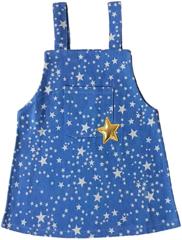 Peacolate Summer Girl's Dress Princess Dress Denim Star Suspender Skirt